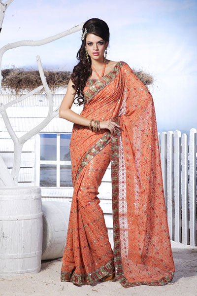 Armani Embroidered Orange Georgette Festival Casual Saree