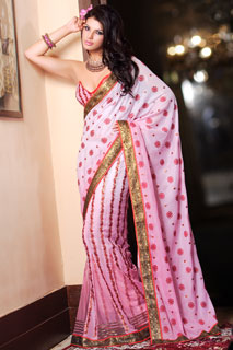 Shaded  pink Fantastic Georgette  Lehenga sari.