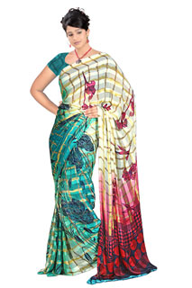 Purple and Blue Red Floral Indian Festival Printed  saree