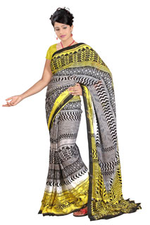 Traditional Black yellow White  Georgette Floral Printed saree