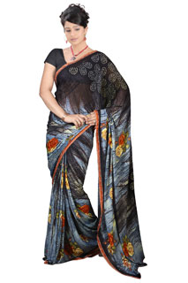 Festival Wear Black Color  Chiffon Printed Saree