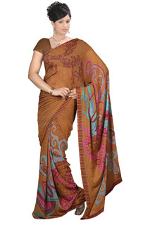 Brown Chiffon Abstract Print Printed Saree