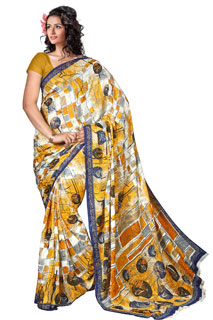 Party wear Multicoloring Chiffon Jaquard Printed Saree
