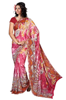 Multicoloring bollywood abstract Print Georgette Printed Saree