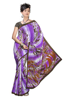 Latest Designer Violete Chiffon Printed Saree