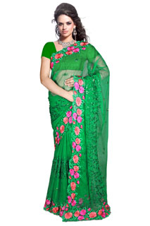 BEBO G colorful embroidered  Georgette Casual saree.