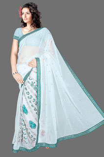 GOOGLE B heavy embroidered  Casual Net Fancy Saree.