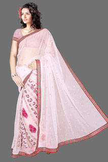 GOOGLE P  Heavy embroidered Fancy  Designer Net Saree.
