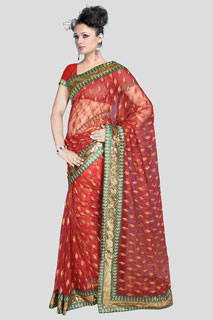 LEAF Heavy Red embroidered Fancy Bollywood  Net Saree