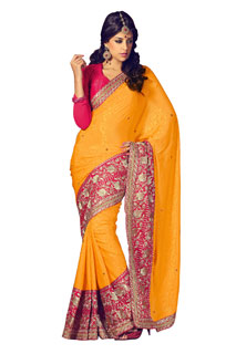 Bollywood Desugner New Stylish Yellow Color Embroidered Sari