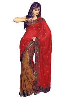 Embroidered Bollywood Designer Sequins and yarn Work Sari