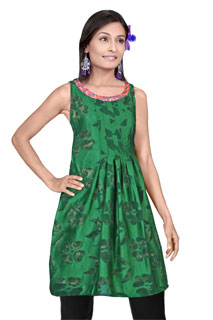 Casual Green Floral Print Designer  Satin Patti Tunic