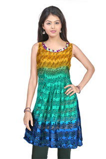 Fancy Blue Floral Print Designer Charming Yellow Designer Satin Patti Kurti