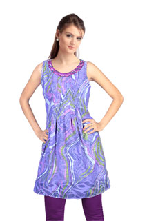 Piurple Violet Fancy Satin Patti Tunic