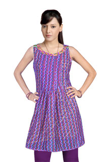Violet Designer Fancy Satin Patti Tunic