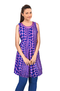 Fancy Designer Violet Satin Patti Polka Dots Tunic