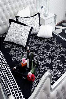New Latest Black  and White Embroidered Printed Bedsheet