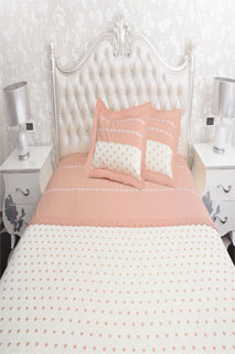 Peach and White Embroidered Bedsheet