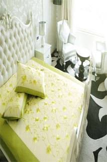 Lemon and Light Green Embroidered Bedsheet