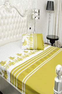 Camel and Cream Embroidered Printed Bedsheet