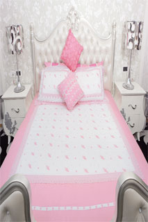 Amazing White and Pink Embroidered Bedsheet