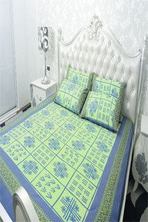 Dusty Blue and Parrot Green Embroidered Printed Bedsheet