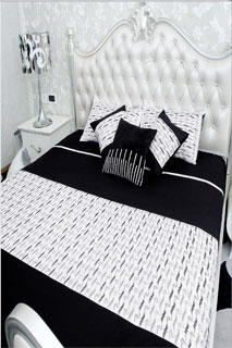 Black and White Embroidered Bedsheet