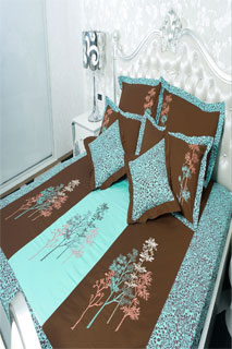Beautiful Light Blue and Brown Printed Embroidered Bedsheet
