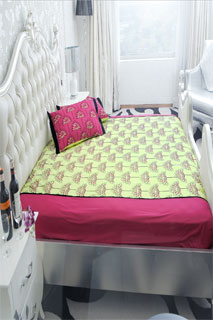Parrot Green and Black Embroidered Printed Bedsheet