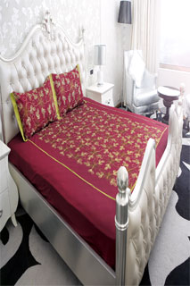 Maroon and Mehndi Embroidered Bedsheet