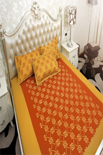Rust and Maustured Embroidered Bedsheet
